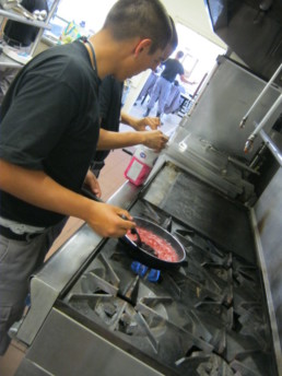 Student cooking food