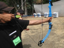 Student participating in archery
